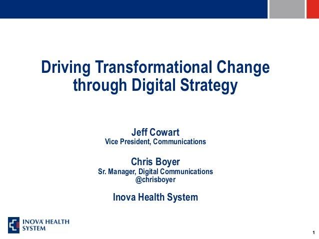 1 Driving Transformational Change through Digital Strategy Jeff Cowart Vice President, Communications Chris Boyer Sr. Mana...