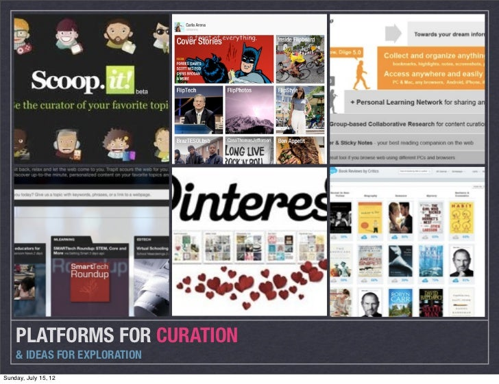 PLATFORMS FOR CURATION    & IDEAS FOR EXPLORATIONSunday, July 15, 12