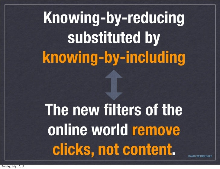 Knowing-by-reducing                         substituted by                      knowing-by-including                      ...