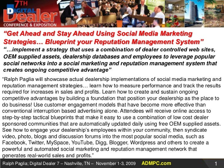 """Get Ahead and Stay Ahead Using Social Media Marketing Strategies… Blueprint your Reputation Management System""""…implement..."