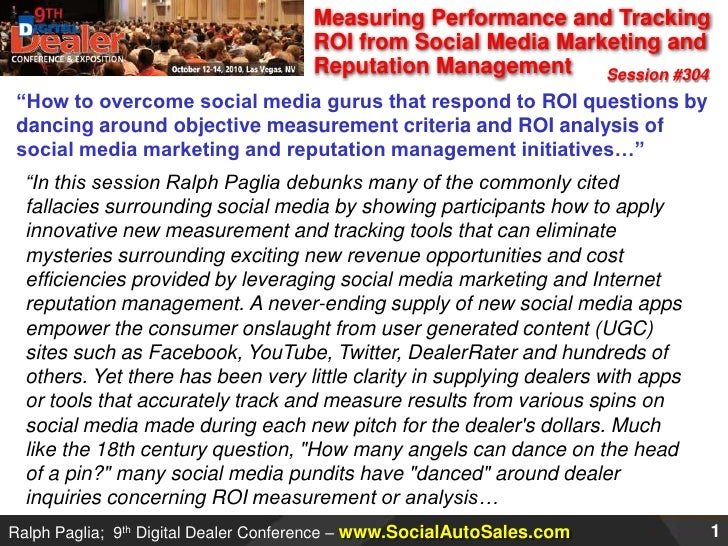 """Measuring Performance and Tracking ROI from Social Media Marketing and Reputation Management<br />Session #304<br />""""How t..."""