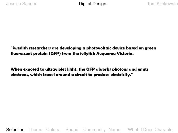 "Digital Design<br />Jessica Sander<br />Tom Klinkowstein<br />""Swedish researchers are developing a photovoltaic device ba..."