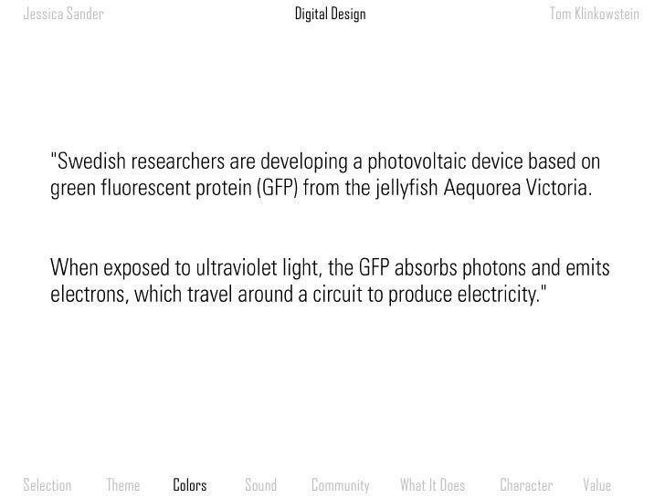 "Digital Design<br />Jessica Sander<br />Tom Klinkowstein<br />""Swedish researchers are developing a photovoltaic device ba..."