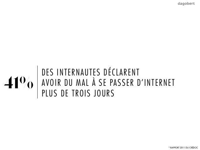 DES INTERNAUTES DÉCLARENT41%   AVOIR DU MAL À SE PASSER D'INTERNET      PLUS DE TROIS JOURS                               ...