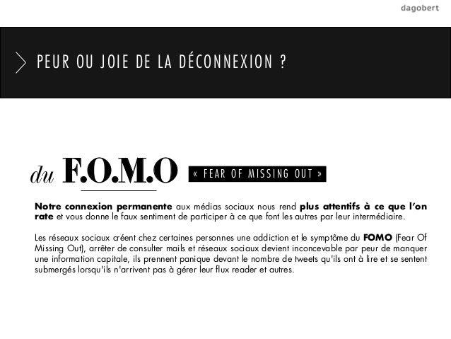 PEUR OU JOIE DE LA DÉCONNEXION ?du     F.O.M.O                            «FEAR OF MISSING OUT»Notre connexion permanent...