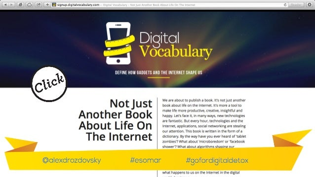 That's why at the moment together with think tank I've finished working on a book called 'digital-vocabulary - define how ga...