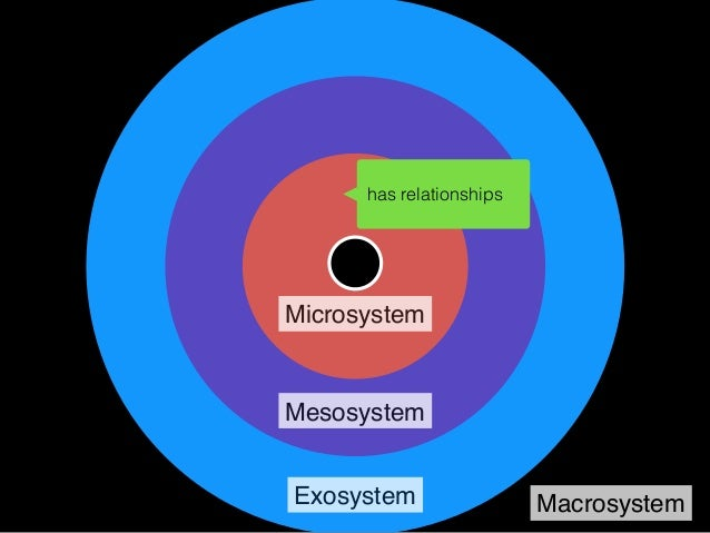 Microsystem Mesosystem Exosystem Macrosystem family, student orgs, groups and contexts… campus rules and cultures… has rel...