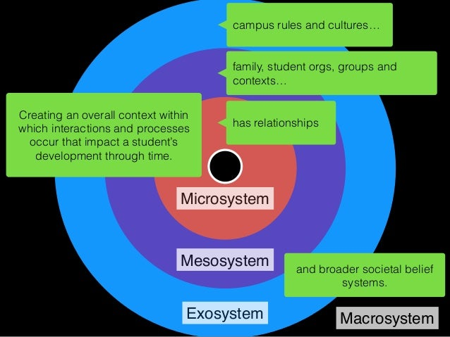 Microsystem Mesosystem Exosystem Macrosystem is in network with others… is immersed in social media site culture…