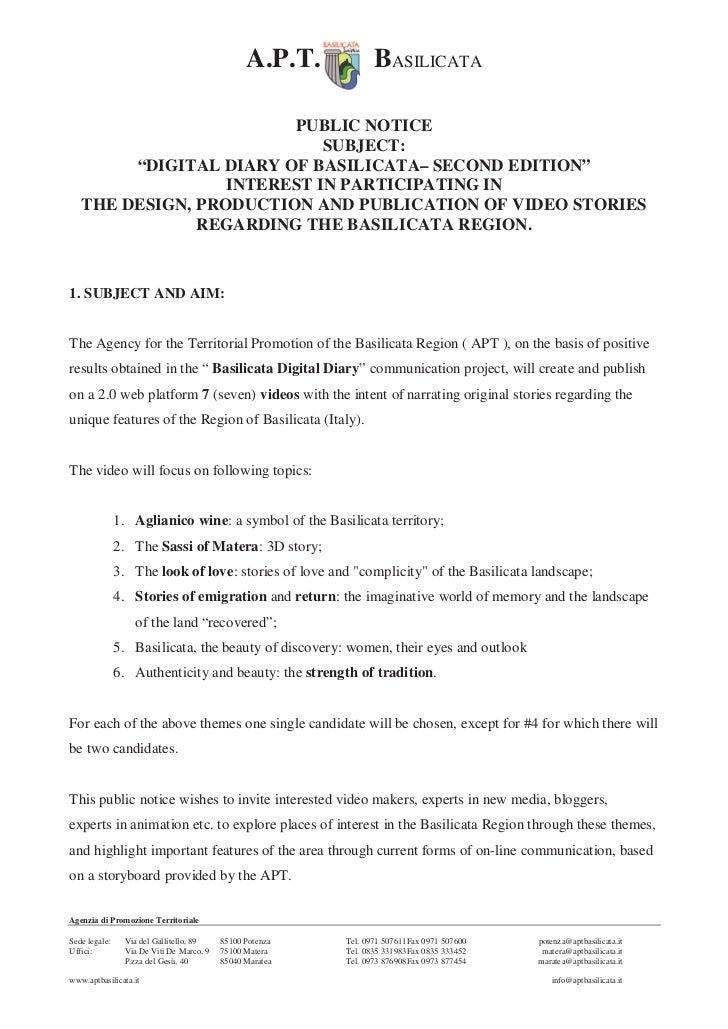 "A.P.T.           BASILICATA                        PUBLIC NOTICE                            SUBJECT:        ""DIGITAL DIARY..."
