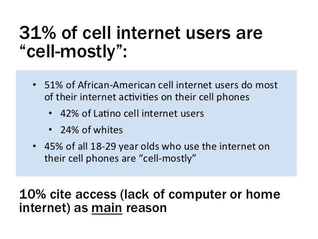 """31% of cell internet users are""""cell-mostly"""":  • 51% of African-‐American cell internet users do most    ..."""