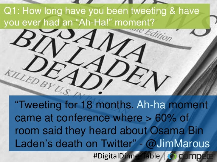 "Q1: How long have you been tweeting & haveyou ever had an ""Ah-Ha!"" moment?  ""Tweeting for 18 months. Ah-ha moment  came at..."