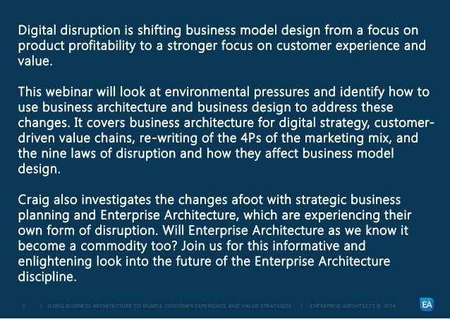 | USING BUSINESS ARCHITECTURE TO ENABLE CUSTOMER EXPERIENCE AND VALUE STRATEGIES | ENTERPRISE ARCHITECTS © 201 42 Digital ...