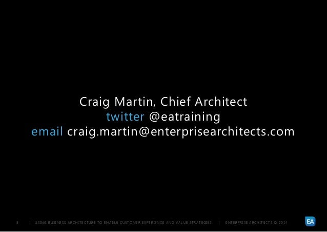 | USING BUSINESS ARCHITECTURE TO ENABLE CUSTOMER EXPERIENCE AND VALUE STRATEGIES | ENTERPRISE ARCHITECTS © 201 43 Craig Ma...