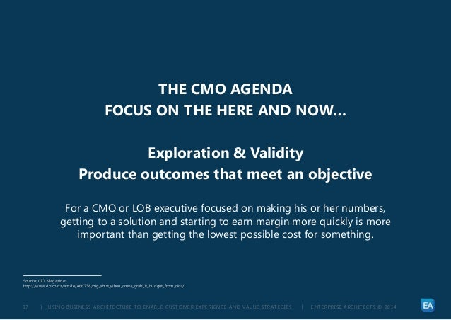 | USING BUSINESS ARCHITECTURE TO ENABLE CUSTOMER EXPERIENCE AND VALUE STRATEGIES | ENTERPRISE ARCHITECTS © 201 437 THE CMO...