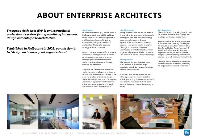 | USING BUSINESS ARCHITECTURE TO ENABLE CUSTOMER EXPERIENCE AND VALUE STRATEGIES | ENTERPRISE ARCHITECTS © 201 45 ABOUT EN...