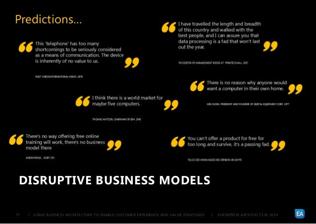 | USING BUSINESS ARCHITECTURE TO ENABLE CUSTOMER EXPERIENCE AND VALUE STRATEGIES | ENTERPRISE ARCHITECTS © 201 477 DISRUPT...