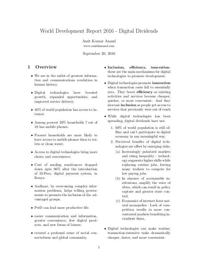 World Development Report 2016 - Digital Dividends Amit Kumar Anand www.amitkanand.com September 20, 2016 1 Overview • We a...