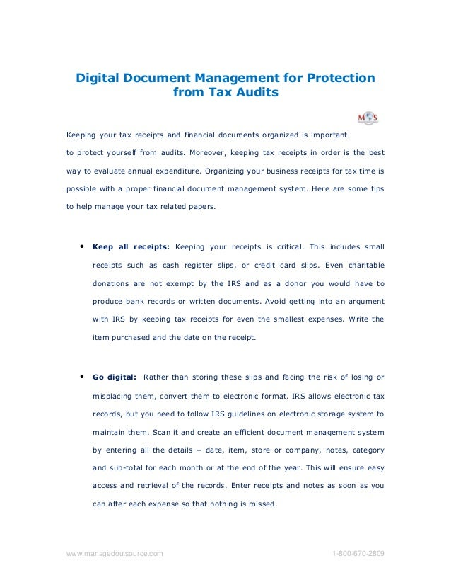 Digital Document Management for Protection from Tax Audits Keeping your tax receipts and financial documents organized is ...