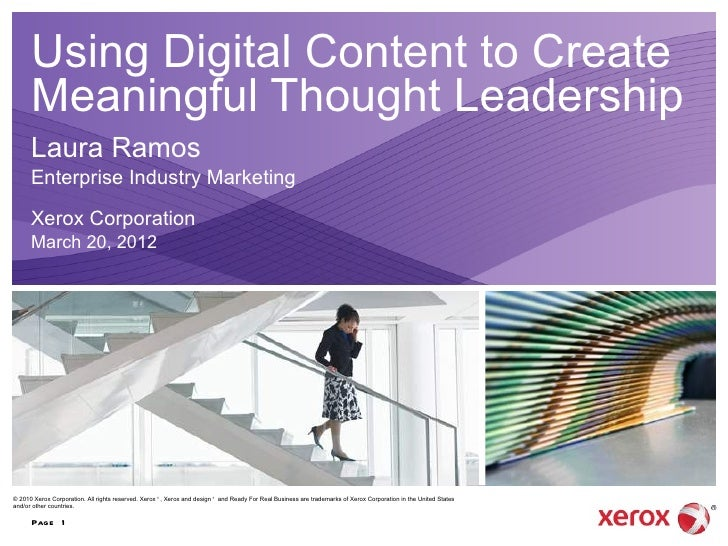 Using Digital Content to Create      Meaningful Thought Leadership      Laura Ramos      Enterprise Industry Marketing    ...