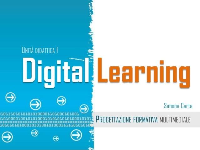 Digital Learning  Simona Carta  PROGETTAZIONE FORMATIVA MULTIMEDIALE  UNITÀ DIDATTICA 1