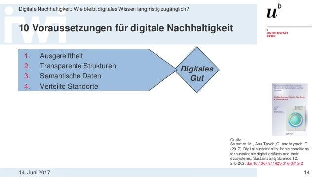 14. Juni 2017 Digitale Nachhaltigkeit: Wie bleibt digitales Wissen langfristig zugänglich? 14 10 Voraussetzungen für digit...