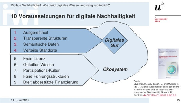 14. Juni 2017 Digitale Nachhaltigkeit: Wie bleibt digitales Wissen langfristig zugänglich? 15 10 Voraussetzungen für digit...