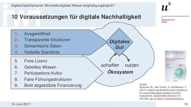 14. Juni 2017 Digitale Nachhaltigkeit: Wie bleibt digitales Wissen langfristig zugänglich? 16 10 Voraussetzungen für digit...
