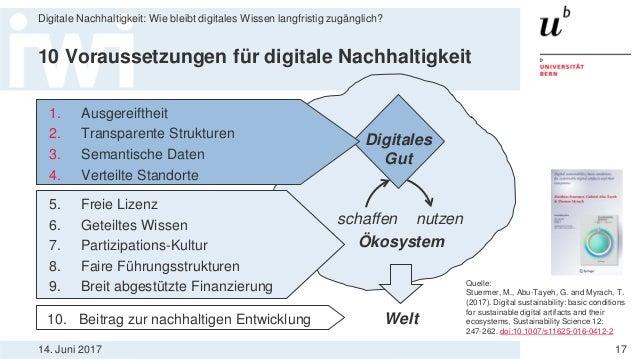 14. Juni 2017 Digitale Nachhaltigkeit: Wie bleibt digitales Wissen langfristig zugänglich? 17 10 Voraussetzungen für digit...