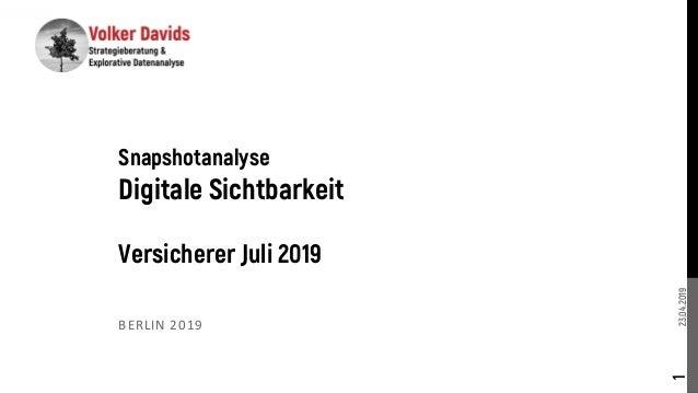 23.04.2019 BERLIN 2019 1 Snapshotanalyse Digitale Sichtbarkeit Versicherer Juli 2019