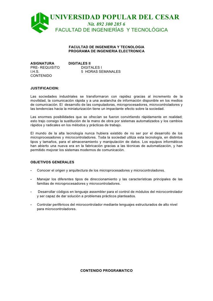 UNIVERSIDAD POPULAR DEL CESAR                         Nit. 892 300 285 6               FACULTAD DE INGENIERÍAS Y TECNOLÓGI...