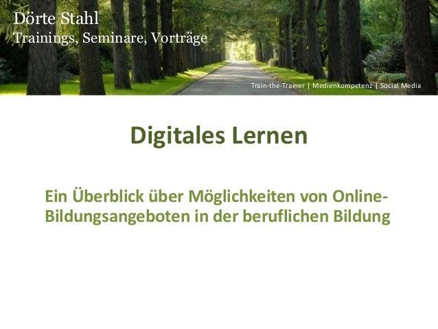 Digitales Lernen Ein Überblick über Möglichkeiten von Online- Bildungsangeboten in der beruflichen Bildung Dörte Stahl Tra...