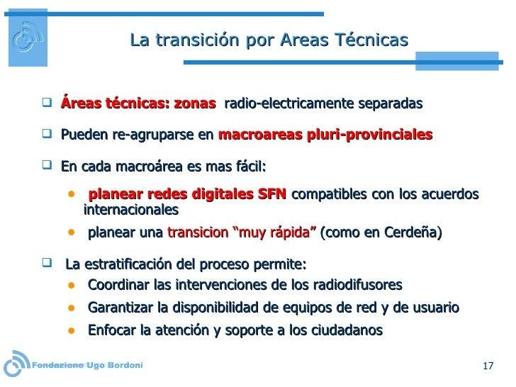 La transición por Areas Técnicas <ul><li>Áreas técnicas: zonas  radio-electricamente separadas </li></ul><ul><li>Pueden re...