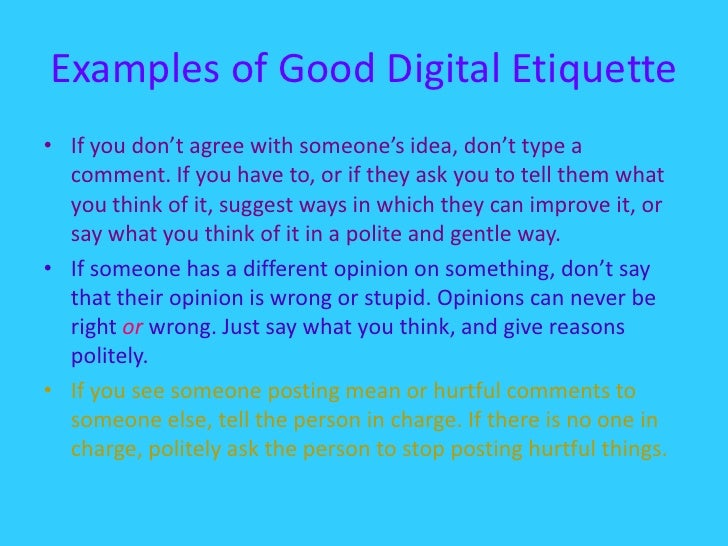 Etiquette examples of internet Social Media