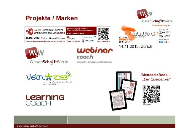 """Projekte / Marken Blended eBook – """"Der Querdenker"""" iPad-App www.wissenscha*werte.ch   14.11.2013, Zürich"""