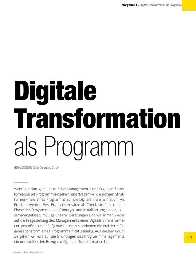 111 Competence Book - Digitaler Wandel Vorgehen l - Digitale Transformation als Programm Digitale Transformation als Progr...
