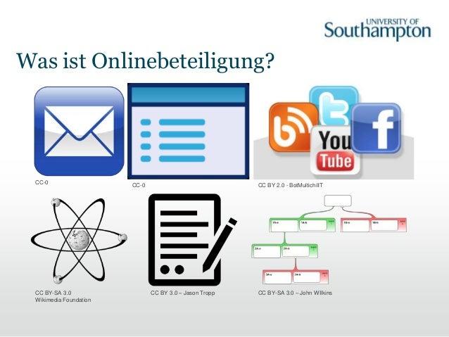 Was ist Onlinebeteiligung? CC BY 2.0 - BotMultichillTCC-0CC-0 CC BY-SA 3.0 Wikimedia Foundation CC BY 3.0 – Jason Tropp CC...