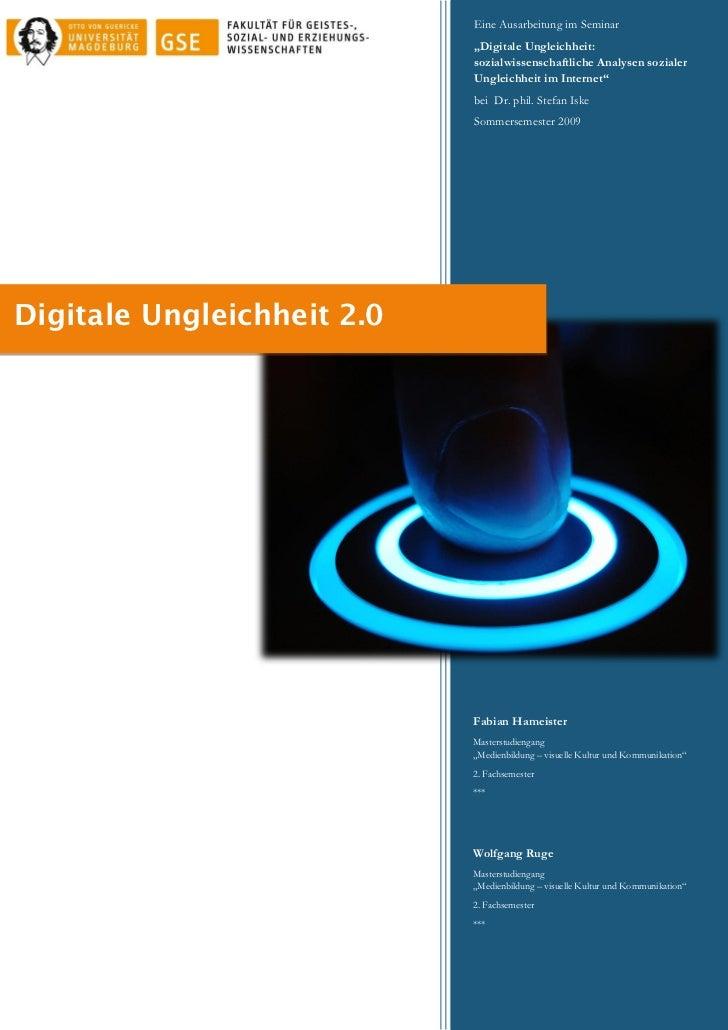 """Eine Ausarbeitung im Seminar                            """"Digitale Ungleichheit:                            sozialwissensch..."""