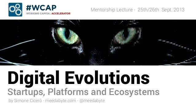 Digital Evolutions Startups, Platforms and Ecosystems Mentorship Lecture - 25th/26th Sept. 2013 by Simone Cicero - meedaby...