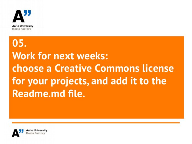 05.Work for next weeks:choose a Creative Commons licensefor your projects, and add it to theReadme.md file.