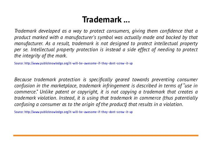 Trademark ...Trademark developed as a way to protect consumers, giving them confdence that aproduct marked with a manufact...