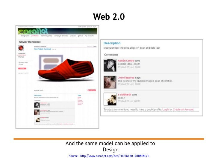 Web 2.0And the same model can be applied to              Design. Source: http://www.coroflot.com/heo/FOOTWEAR-RUNNING/1