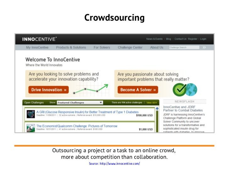 CrowdsourcingOutsourcing a project or a task to an online crowd,   more about competition than collaboration.             ...