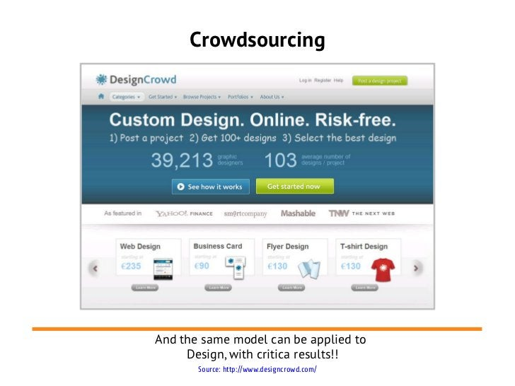 CrowdsourcingAnd the same model can be applied to     Design, with critica results!!       Source: http://www.designcrowd....