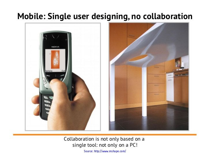 Mobile: Single user designing, no collaboration            Collaboration is not only based on a                single tool...