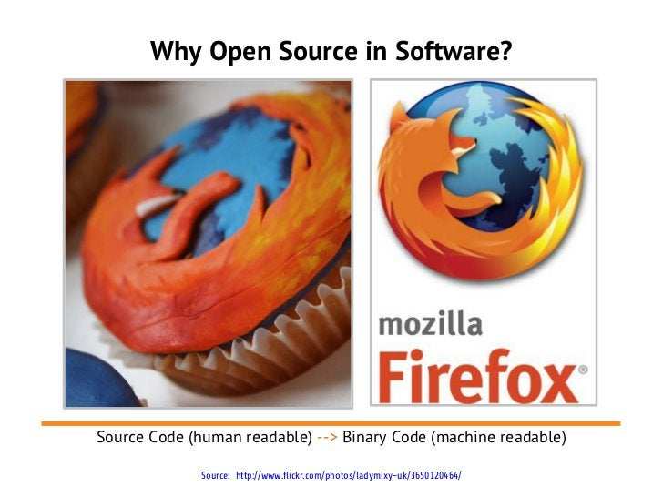Why Open Source in Software?Source Code (human readable) --> Binary Code (machine readable)              Source: http://ww...