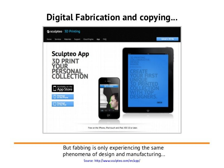 Digital Fabrication and copying...    But fabbing is only experiencing the same    phenomena of design and manufacturing.....