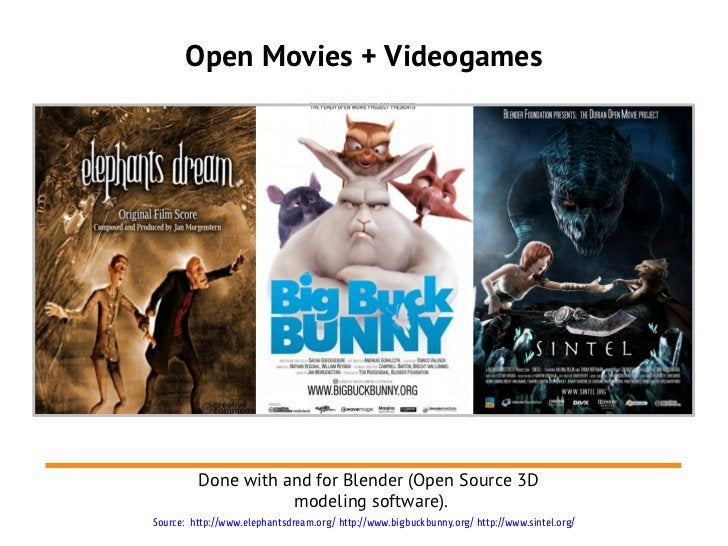 Open Movies + Videogames         Done with and for Blender (Open Source 3D                    modeling software).Source: h...