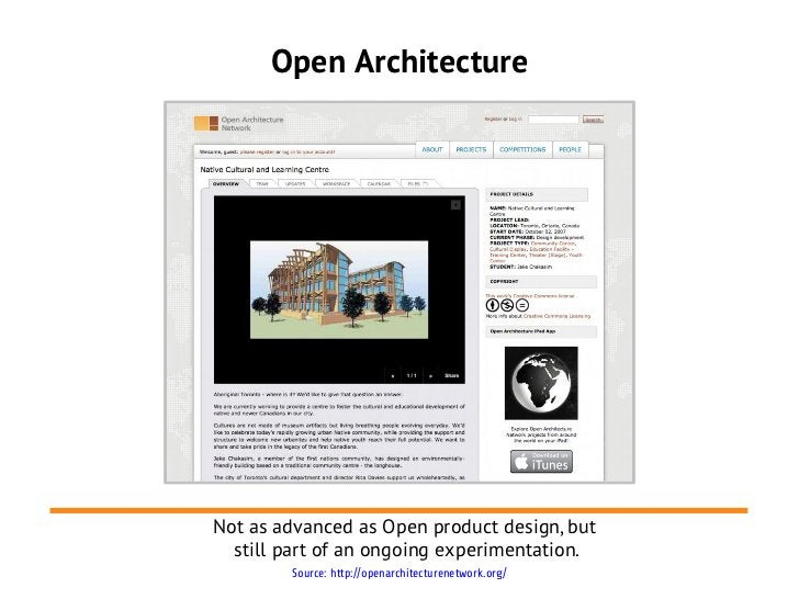 Open ArchitectureNot as advanced as Open product design, but  still part of an ongoing experimentation.        Source: htt...