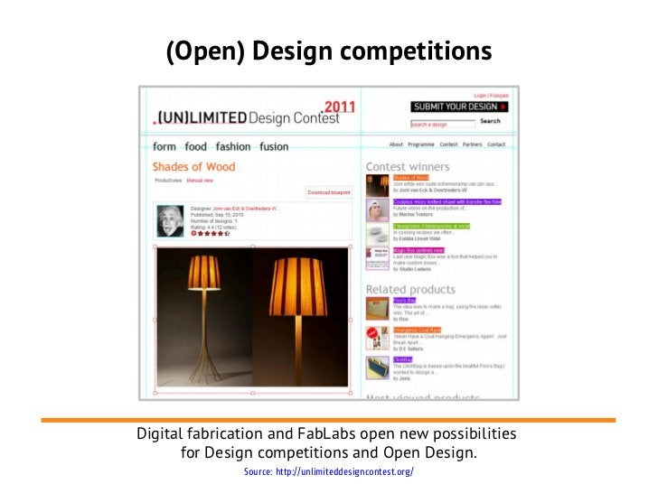 (Open) Design competitionsDigital fabrication and FabLabs open new possibilities      for Design competitions and Open Des...