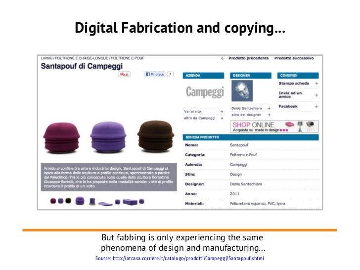 Digital Fabrication and copying...     But fabbing is only experiencing the same     phenomena of design and manufacturing...